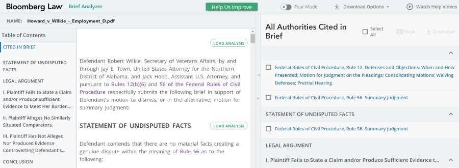 Bloomberg Law Brief Analyzer citations and analysis feature