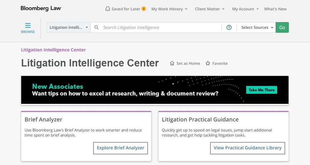 Bloomberg Law Brief Analyzer tool on litigation intelligence center