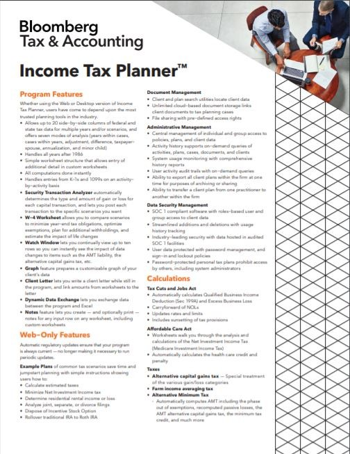 Bloomberg Tax Technology Income Tax Planner Data Sheet