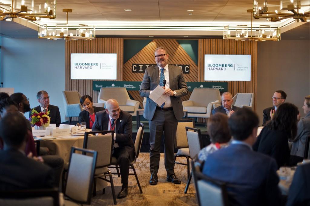 Jorrit de Jong speaking to alumni of the Bloomberg Harvard City Leadership Program at CityLab in October, 2019.