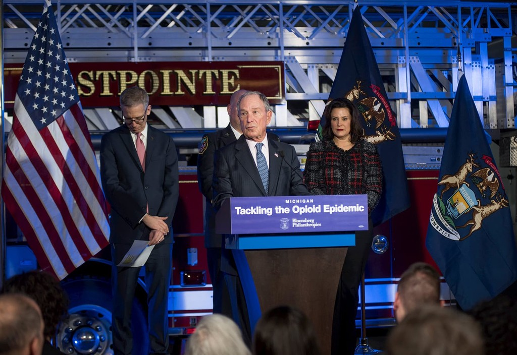 Mike Bloomberg joins Michigan Governor Gretchen Whitmer in Eastpointe, Michigan to announce the Bloomberg Opioid Prevention Network.