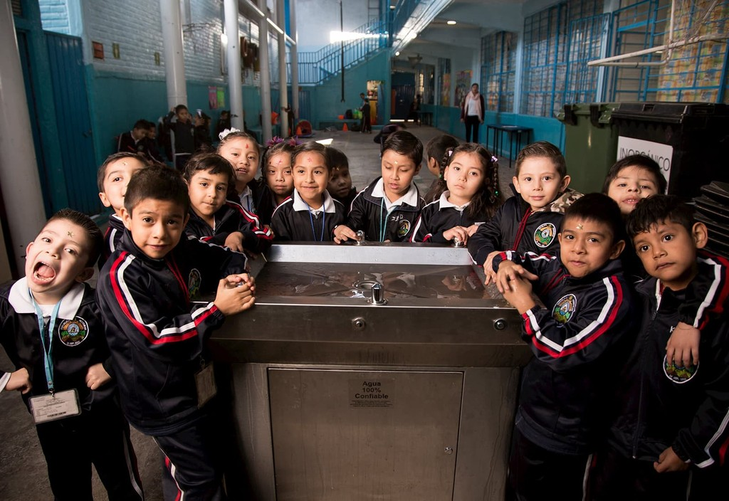 Students in Mexico City benefit from new water fountains thanks to Bloomberg Philanthropes efforts to reduce sugary beverage consumption.
