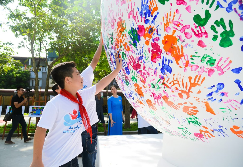 Students in Vietnam participate in the National Action Month for Children.