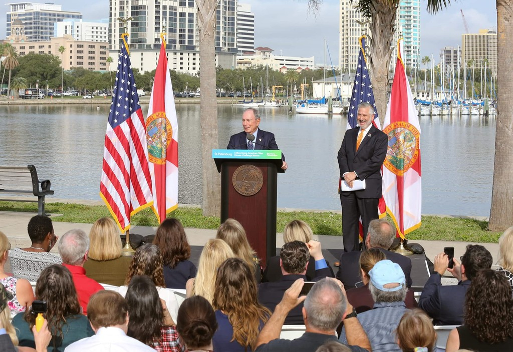 Mike Bloomberg announces St. Petersburg, FL as a winner in the Bloomberg American Cities Climate Challenge alongside Mayor Rick Kriseman.