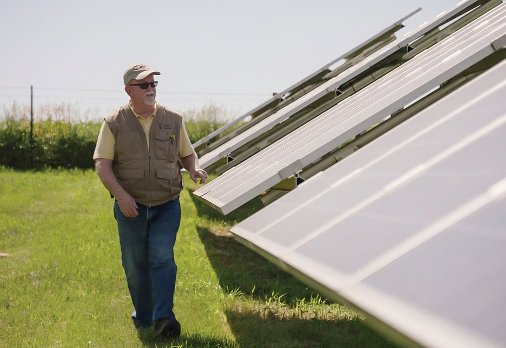 "A scene of the solar farm at Farmers Electric Cooperative in Kalona, Iowa from the film ""Paris to Pittsburgh,"" produced by Bloomberg Philanthropies in parntership with Radical Media, and distributed by National Geographic Channel."