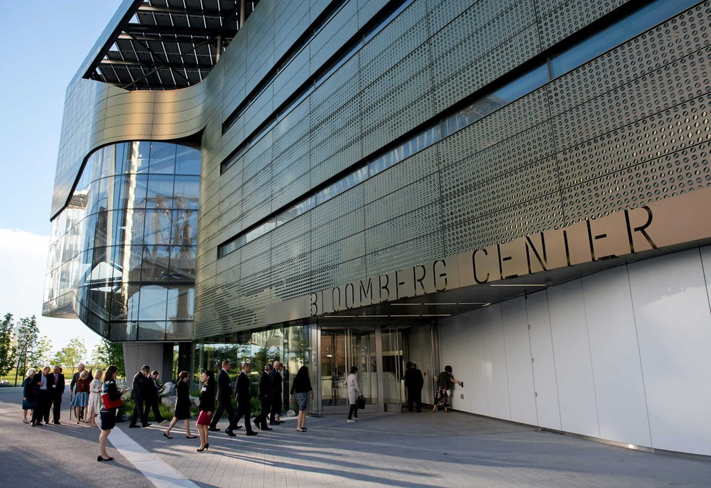 The Bloomberg Center at Cornell Tech, named in honor of Emma and Georgina Bloomberg, serves as a campus hub to bring students and faculty together to collaborate across disciplines on New York City's Roosevelt Island.