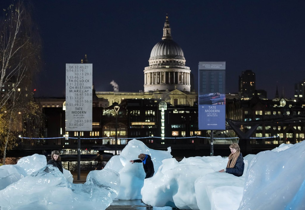 "A public art installation, ""Ice Watch,"" by artist Olafur Eliasson, sits in front of London's Tate Modern as a reminder of the urgency of taking action on climate change."