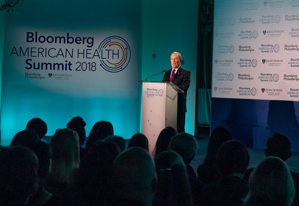 Mike Bloomberg delivers remarks during the inagural Bloomberg American Health Summit in Washington, D.C.