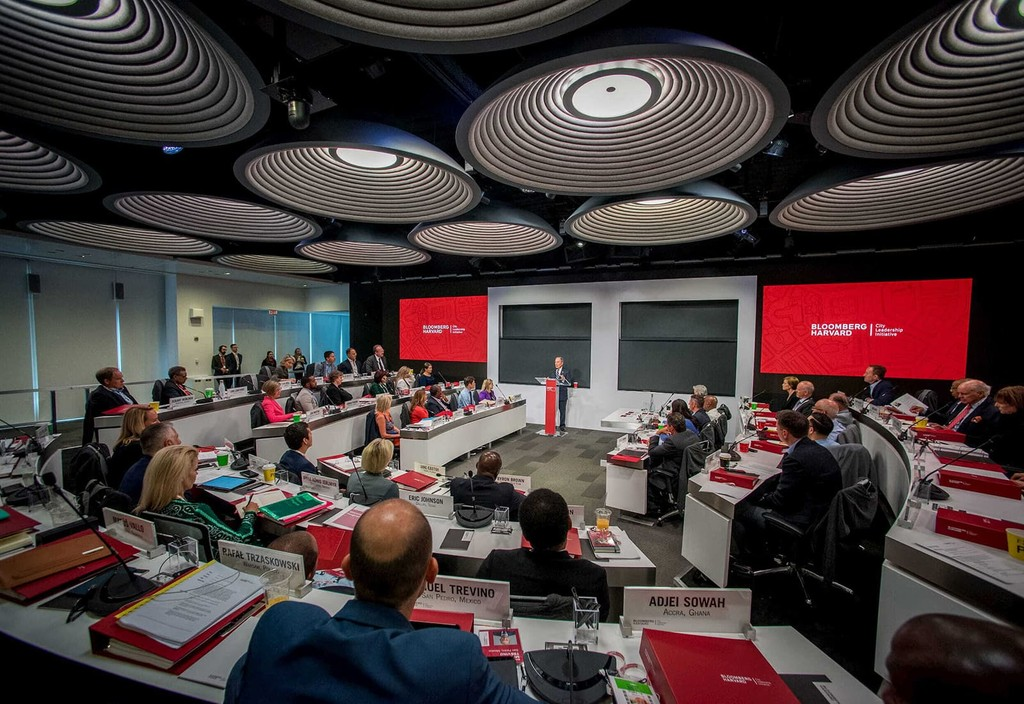 Mike Bloomberg addresses more than 40 mayors in cohort at the Bloomberg Harvard City Leadership Initiative program in New York City.