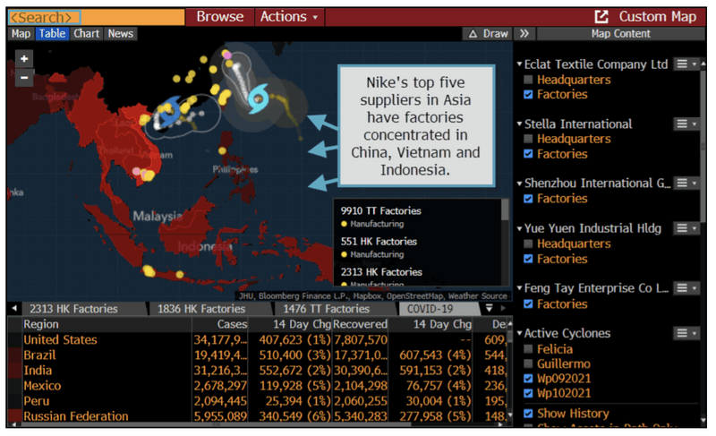 The image shows a map of Cyclones in Southeast Asia on the Bloomberg Terminal